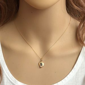 14K Solid Gold Mini leaf Sapphire Dainty Necklace